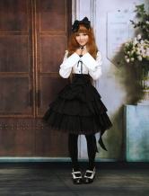 Cotton White Long Sleeves Blouse And Black Ruffles Lolita Skirt Outfit