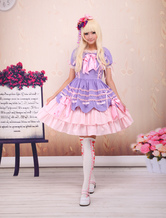 Lolitashow Süße lila rosa Lolita OP Kleid Kurzarm
