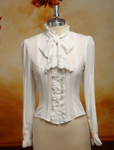 Lolitashow White Chiffon Lolita Blouse Long Sleeves Stand Collar Lace Trim Ruffles