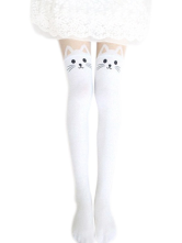 Lolitashow Harajuku White Black Velvet Lolita Thigh High Socks Cute Cats Print