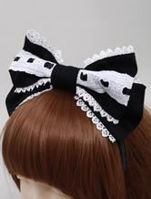Lolitashow süße   Cotton Lolita Haarbänder gestickte besatz in  Weiß