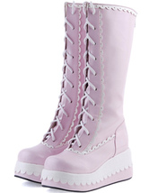 Lolitashow Sweet Pink Lace-Up Wedge Heel Round Toe PU Lolita Boots