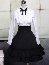 Lolitashow Cotton White Lolita Blouse Long Sleeves and Black Lolita Skirt Outfits