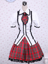 Lolitashow Cotton White Puff Short Sleeves Lolita Blouse And Checkered Classic Lolita Skirt