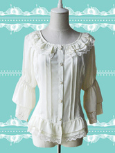 Lolitashow White Chiffon Lolita Blouse Hime Sleeves Lace Trim Ruffles Round Collar