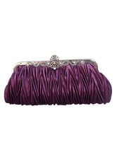 Purple Ruffles Chains Silk Wedding Handbag