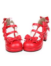 Lolitashow Sweet Chunky Heels Lolita Shoes Platform Straps Bows Round Buckles