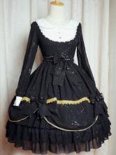 Lolitashow Classic Black Chiffon Lolita One-Piece for Girls