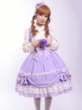 Lolitashow Sleeveless Chiffon Lilac Lolita One-Piece for Girls