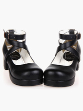 Black Lolita Heels Square Platform Ankle Straps Chunky Heel Lolita Shoes