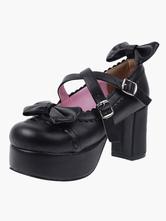 Lolitashow ロリータ靴,ブラック ラウンドトゥ リボン チャンキーヒール コスプレ