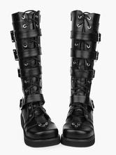 Lolitashow Chaussures Lolita Bottes de mode haut talon compensé plateforme en PU noires avec boucles et sangles