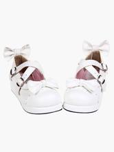 Lolitashow Sweet White Lolita Flats Shoes Platform Bow Decor with Trim