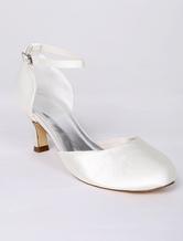 Chaussures mariage soirée ivoire à talon évasé