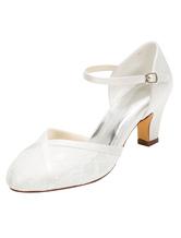 Chaussures mariage Ivoire dentelle Chaussures haut talon cheville ronde