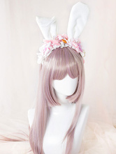 Lolitashow Sweet Lolita Headbands Cute Pink Bow Flower Lace Lolita Headband With White Bunny Ears