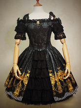 Lolitashow Gothic Lolita Dress Black Bow Printed Ruffles Jacquard Gothic Lolita Dress Suit With Lace Embroidered