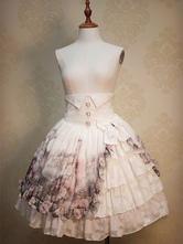 Lolitashow Classic Lolita Dress High Waist Ruffles Classical Lolita Skirt With Floral Printed