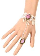 Lolitashow Gothic Lolita Bracelet Lace Flowers White Lolita Bracelet