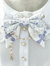 Lolitashow White Lolita Accessories Beaded Cotton Printed Lolita Bowknot