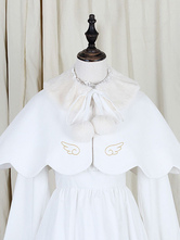 Lolitashow White Lolita Cape Ruffle Embroidered Puff Balls Plain Woolen Peter Pan Collar Sweet Lolita Clothing