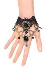 Lolitashow Gothic Lolita Bracelet Black Lace Bead Victorian Lolita Bracelet Jewelry