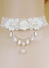 Lolitashow Lolita dulce collar encaje blanco perlas gargantilla de flor princesa estilo Lolita