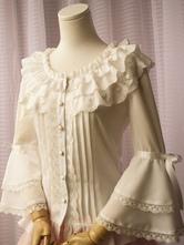 Lolitashow Sweet Lolita Blouse White Lace Ruffle Bows Hime Sleeve Round Neck Chiffon Lolita Shirt