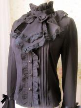 Lolitashow Sweet Lolita Blouse Vintage High Collar Bows Flare Sleeve Ruffled Lolita Shirt