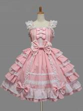 Lolitashow Sweet Lolita Robe JSK rose coton dentelle Bow volantée Lolita stratifiée Jumper Skirt