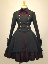 Lolitashow Gothic Lolita Dress OP Black Cotton Double Breasted Button Long Sleeve Bow Ruffled Lolita One Piece Dress