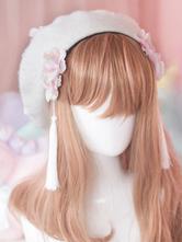 Lolitashow Sweet Lolita Hat White Wool Flower Pearls Beaded Lolita Beret Hat