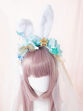 Lolitashow Sweet Lolita Headband Cute Green Bows Star Lolita Headband With Bunny Ears