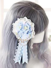 Lolitashow Sweet Lolita Headband Fringe Light Blue Flowers Headgear With Lace Pearls