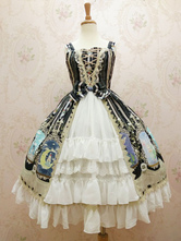Lolitashow Sweet Lolita Dress JSK Chiffon Crystal Rabbit Printed Lace Ruffle Lolita Jumper Skirt