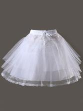 Lolitashow Sweet Lolita Petticoat White Mesh Taffeta Tiered Short Lolita Underskirt