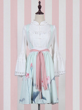 Lolitashow Sweet Lolita SK Suit Qi Lolita Blouse And Lotus Print Skirt Outfits With Sash