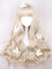 Lolitashow Sweet Lolita Wig Long Curly Blunt Fringe Light Brown Heat Resistant Fiber Wigs For Lolita