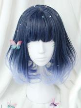 Lolitashow Harajuku Lolita Wig Short Curly Blunt Fringe Royal Purple Heat Resistant Fiber Lolita Wigs