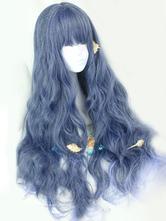 Lolitashow Sweet Lolita Wigs Long Curly Royal Purple Harajuku Fashion Wigs With Blunt Fringe