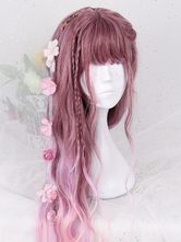 Lolitashow Pink Lolita Wigs Long Curly Harajuku Fashion Heat-resistant Fiber Lolita Wig Accessories