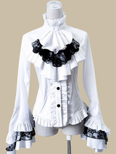 Lolitashow Gothic Lolita Blouse White Ruffle High Collar Lace Bell Long Sleeve High Low Lace Up Cotton Lolita Blouse
