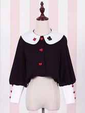 Lolitashow Sweet Lolita Coat Alice Costume Long Sleeve Poker Print Cotton Lolita Overcoat With Buttons