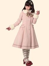 Lolitashow Sweet Lolita Coat Pink Wool Fur Collar A Line Bow Button Long Sleeve Lolita Overcoat