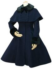 Lolitashow Sweet Lolita Coat Black Wool Turndown Collar Long Sleeve Slim Fit Detachable Lolita Cape Coat