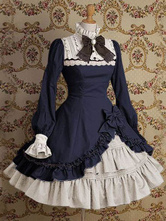 Lolitashow Gothic Lolita Dress OP Stand Collar Irregular Ruffles Bow Dress In Deep Blue