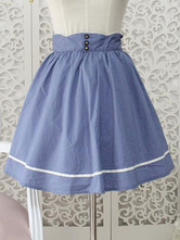 Lolitashow Sweet Lolita Dress SK Blue Polka Dot High Waist Pleated Lolita Skirt