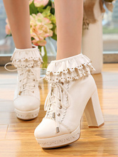 Lolitashow White Lolita Boots Platform Chunky Heel Scalloped Lace Up Ankle Boots