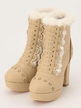 Lolitashow Sweet Lolita Boots Fur Chunky Heel Kawaii Ankle Boots