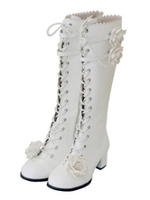 Lolitashow White Lolita Boots Chunky Heel Lace Up Zipper Wellington Boots With Rose
